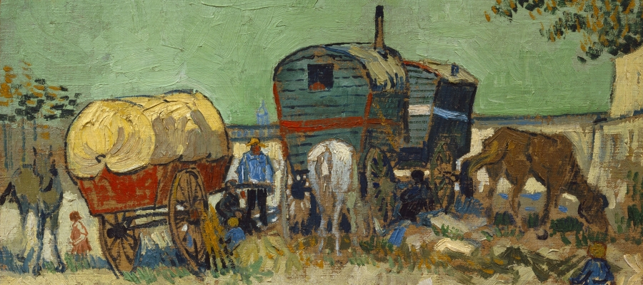 The Caravans, Gypsy Encampment near Arles (Detail), 1888